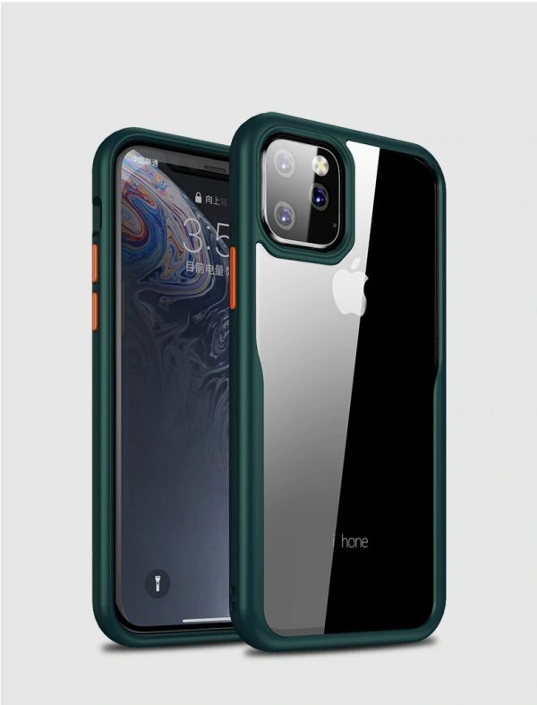 Apple iphone 11 – Green transparent Shockproof Case-1 shop in factory