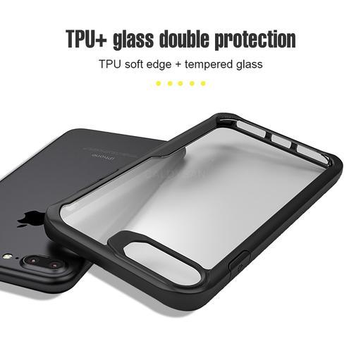 Apple iphone 7 plus – Black Transparent shockproof Case-1 shop in factory